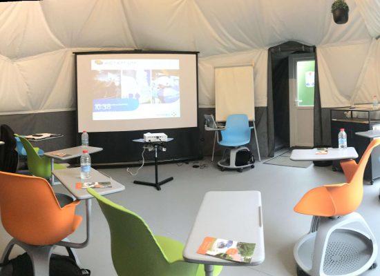 Vue intérieure dôme géodésique réunion formation Drôme - Work'in Bulle Romans sur Isère